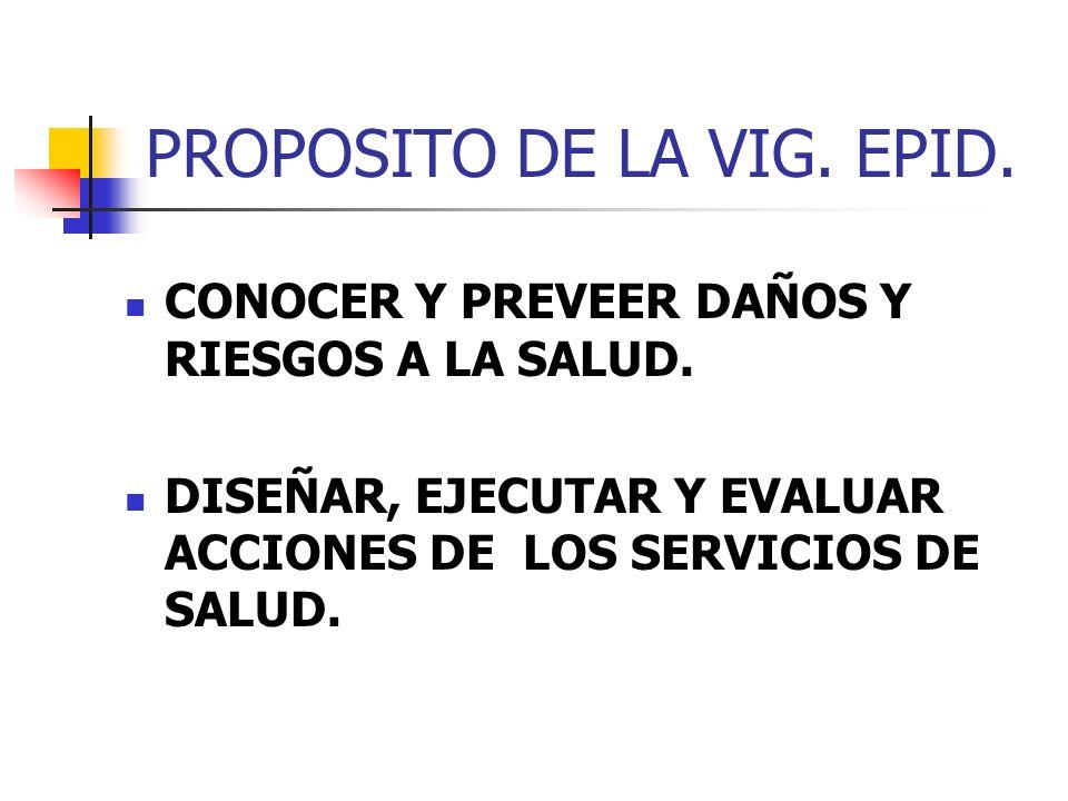 PROPOSITO DE LA VIG. EPID. CONOCER Y PREVEER DAÑOS Y RIESGOS A LA SALUD. DISEÑAR, EJECUTAR Y EVALUAR ACCIONES DE LOS SERVICIOS DE SALUD.