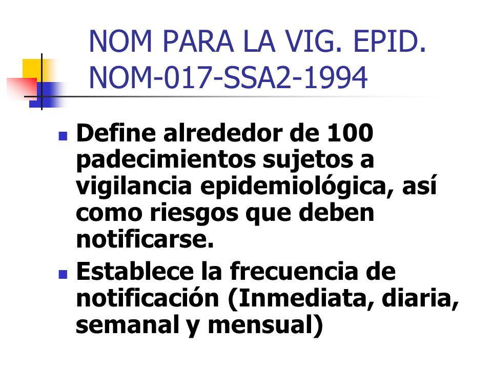 NOM PARA LA VIG. EPID. NOM-017-SSA2-1994 Define alrededor de 100 padecimientos sujetos a vigilancia epidemiológica, así como riesgos que deben notific
