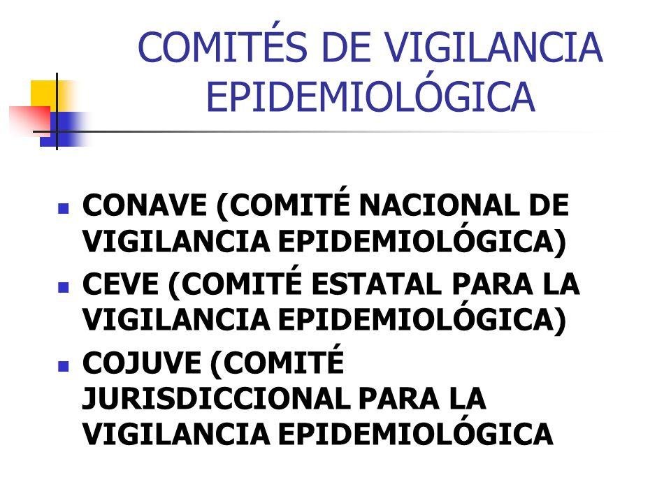 COMITÉS DE VIGILANCIA EPIDEMIOLÓGICA CONAVE (COMITÉ NACIONAL DE VIGILANCIA EPIDEMIOLÓGICA) CEVE (COMITÉ ESTATAL PARA LA VIGILANCIA EPIDEMIOLÓGICA) COJ