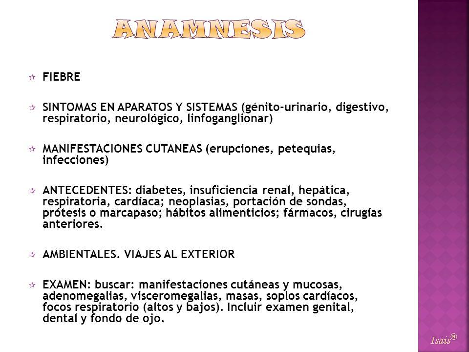 FIEBRE SINTOMAS EN APARATOS Y SISTEMAS (génito-urinario, digestivo, respiratorio, neurológico, linfoganglionar) MANIFESTACIONES CUTANEAS (erupciones,