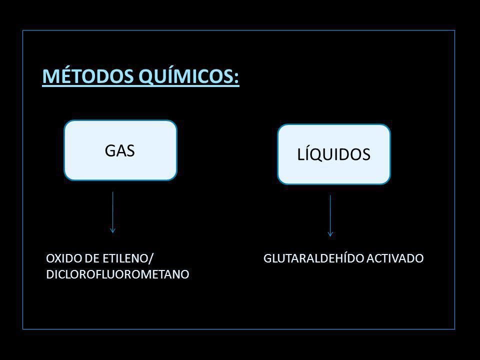MÉTODOS QUÍMICOS: GAS LÍQUIDOS OXIDO DE ETILENO/ DICLOROFLUOROMETANO GLUTARALDEHÍDO ACTIVADO