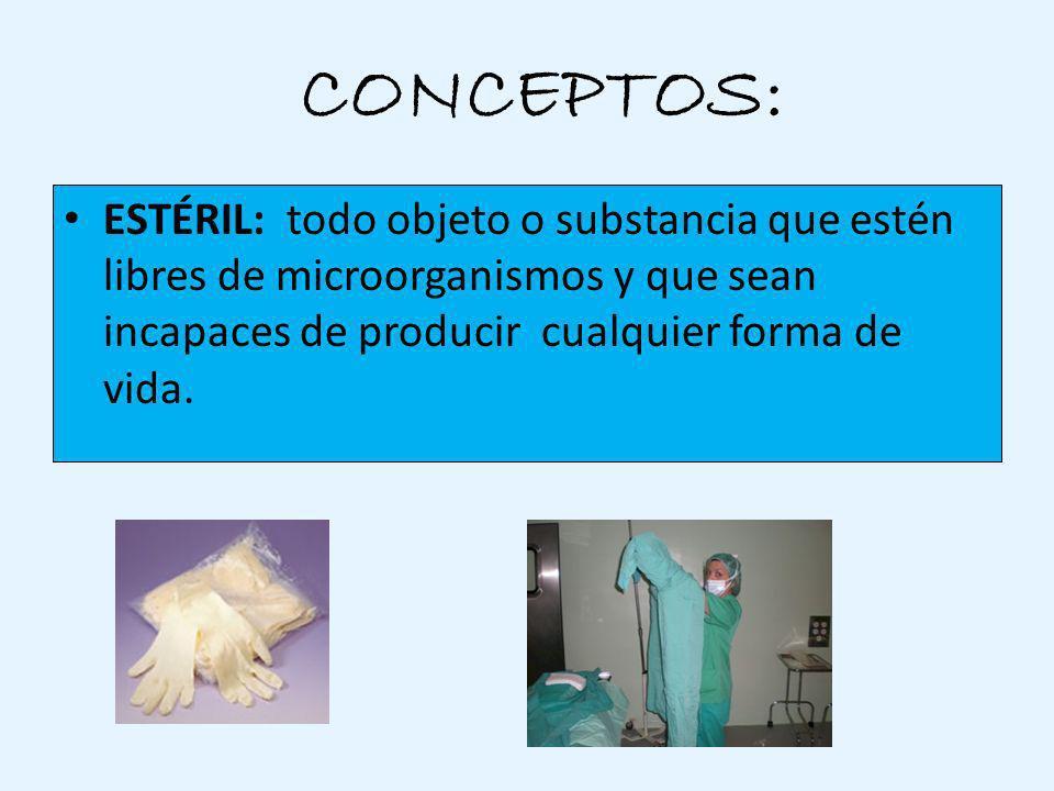 ¿ CONCEPTOS: ESTÉRIL: todo objeto o substancia que estén libres de microorganismos y que sean incapaces de producir cualquier forma de vida.
