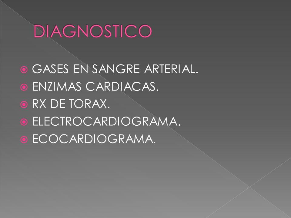 GASES EN SANGRE ARTERIAL. ENZIMAS CARDIACAS. RX DE TORAX. ELECTROCARDIOGRAMA. ECOCARDIOGRAMA.