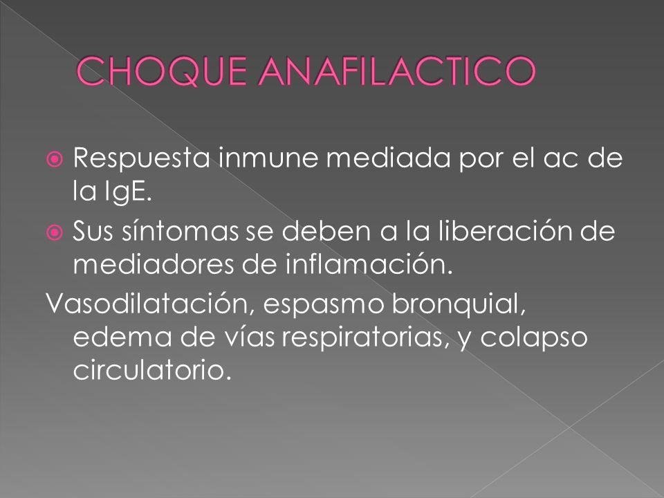 Respuesta inmune mediada por el ac de la IgE. Sus síntomas se deben a la liberación de mediadores de inflamación. Vasodilatación, espasmo bronquial, e