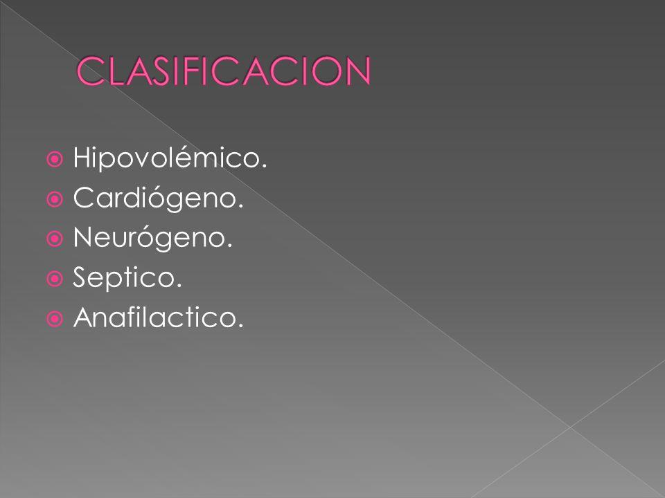 Hipovolémico. Cardiógeno. Neurógeno. Septico. Anafilactico.