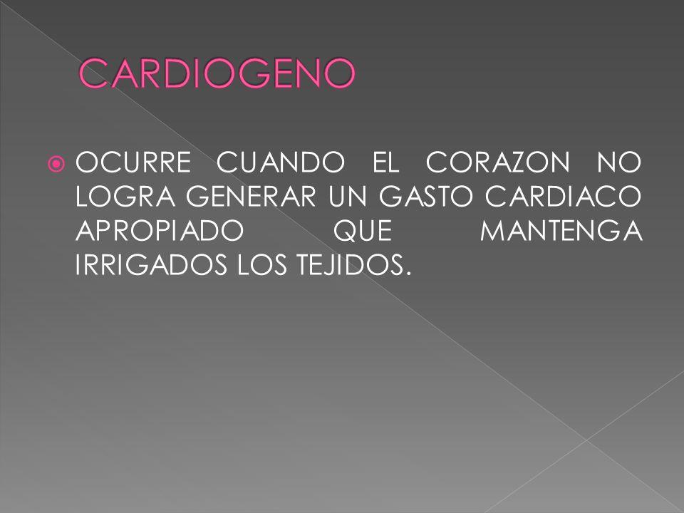 OCURRE CUANDO EL CORAZON NO LOGRA GENERAR UN GASTO CARDIACO APROPIADO QUE MANTENGA IRRIGADOS LOS TEJIDOS.