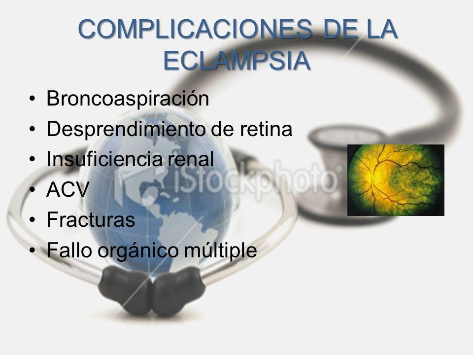 COMPLICACIONES DE LA ECLAMPSIA Broncoaspiración Desprendimiento de retina Insuficiencia renal ACV Fracturas Fallo orgánico múltiple