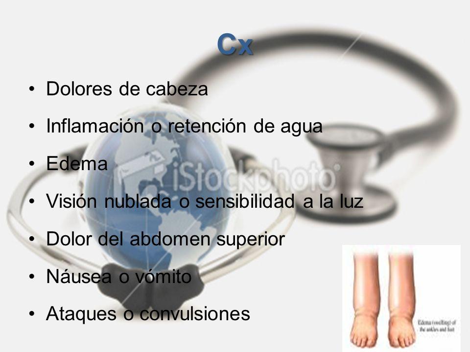 Cx Dolores de cabeza Inflamación o retención de agua Edema Visión nublada o sensibilidad a la luz Dolor del abdomen superior Náusea o vómito Ataques o