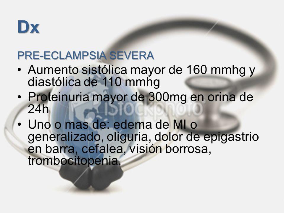 Dx PRE-ECLAMPSIA SEVERA Aumento sistólica mayor de 160 mmhg y diastólica de 110 mmhg Proteinuria mayor de 300mg en orina de 24h Uno o mas de: edema de