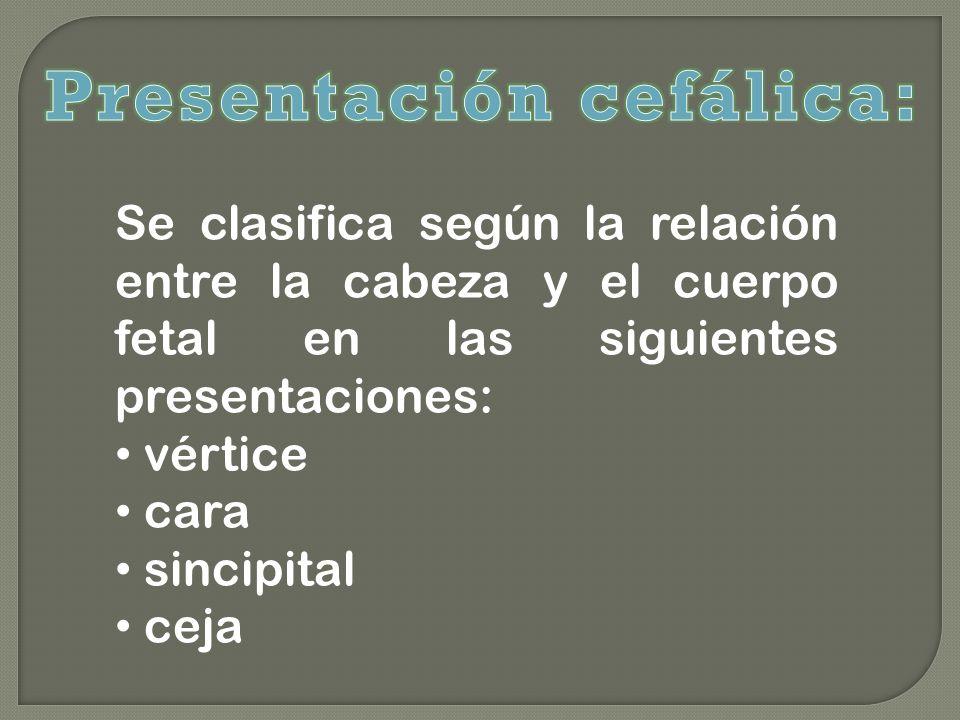 Se clasifica según la relación entre la cabeza y el cuerpo fetal en las siguientes presentaciones: vértice cara sincipital ceja