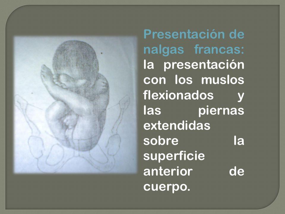 Presentación de nalgas francas: la presentación con los muslos flexionados y las piernas extendidas sobre la superficie anterior de cuerpo.