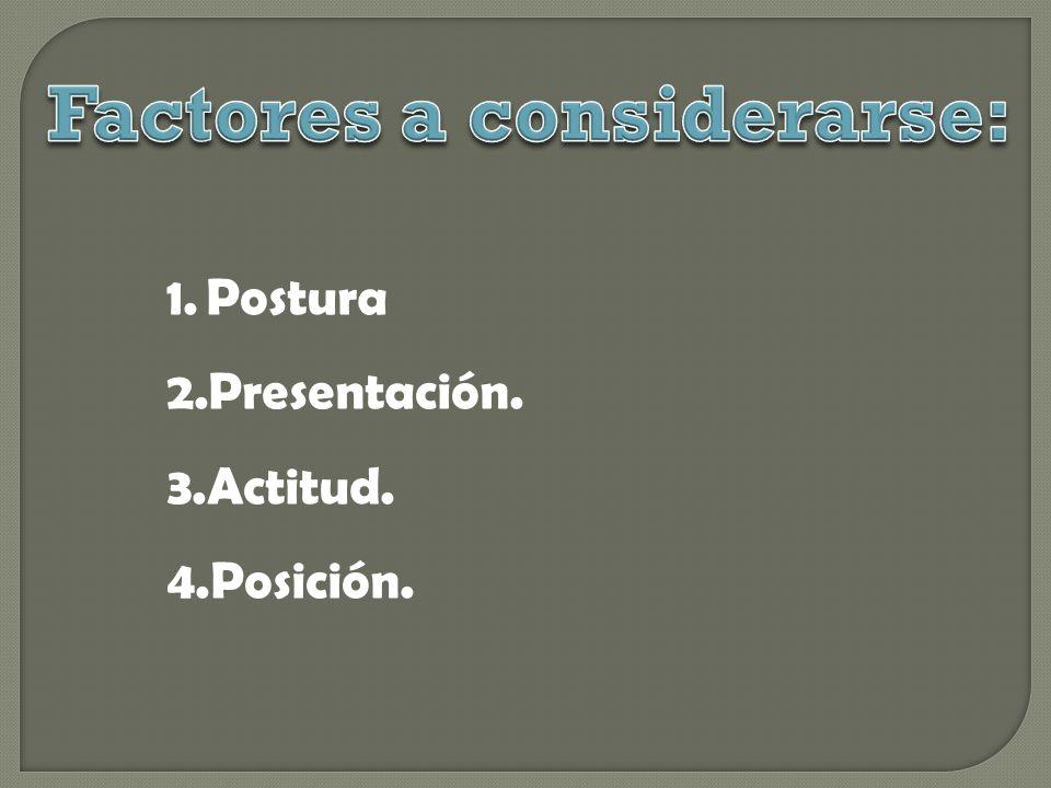 1.Postura 2.Presentación. 3.Actitud. 4.Posición.
