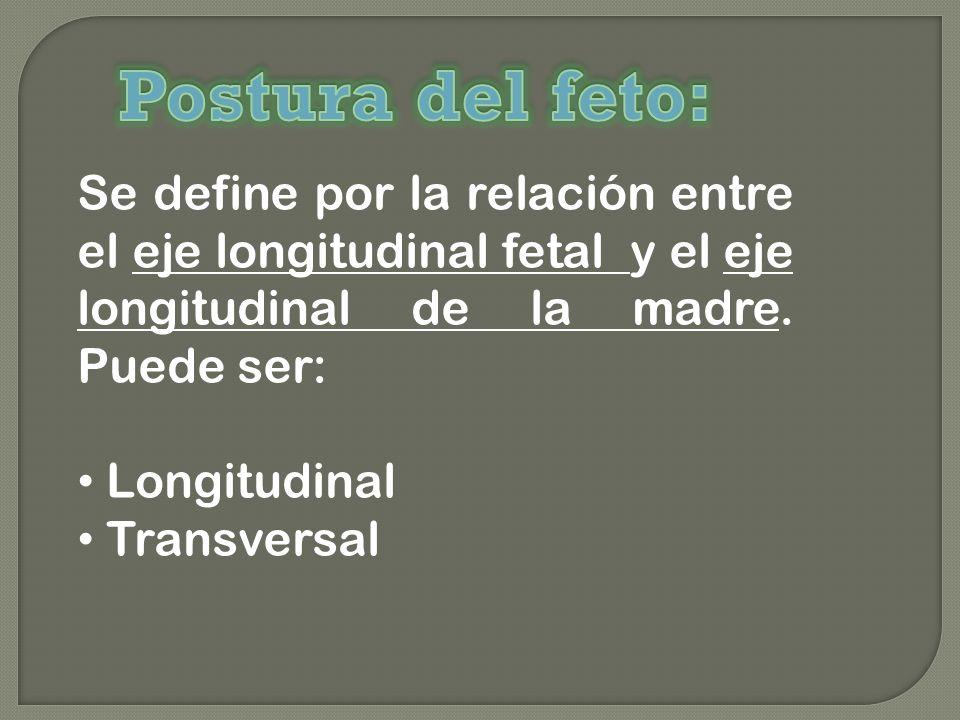 Se define por la relación entre el eje longitudinal fetal y el eje longitudinal de la madre. Puede ser: Longitudinal Transversal