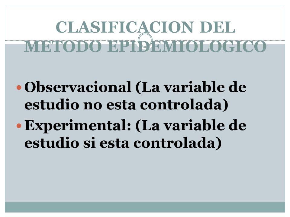 CLASIFICACION DEL METODO EPIDEMIOLOGICO Observacional (La variable de estudio no esta controlada) Experimental: (La variable de estudio si esta contro