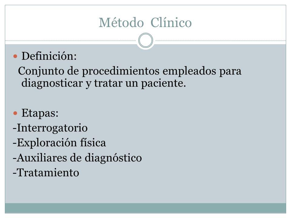 Método Clínico Definición: Conjunto de procedimientos empleados para diagnosticar y tratar un paciente. Etapas: -Interrogatorio -Exploración física -A