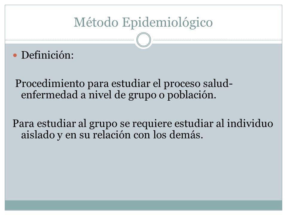 Método Epidemiológico Definición: Procedimiento para estudiar el proceso salud- enfermedad a nivel de grupo o población. Para estudiar al grupo se req