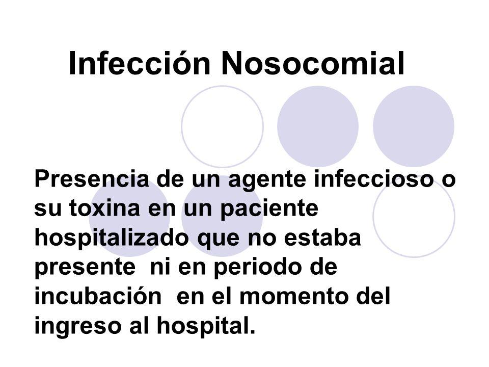 Infección Nosocomial Presencia de un agente infeccioso o su toxina en un paciente hospitalizado que no estaba presente ni en periodo de incubación en