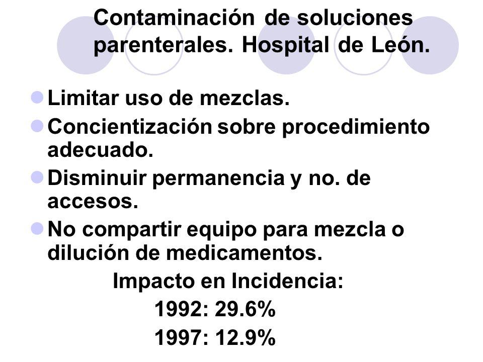 Contaminación de soluciones parenterales. Hospital de León. Limitar uso de mezclas. Concientización sobre procedimiento adecuado. Disminuir permanenci