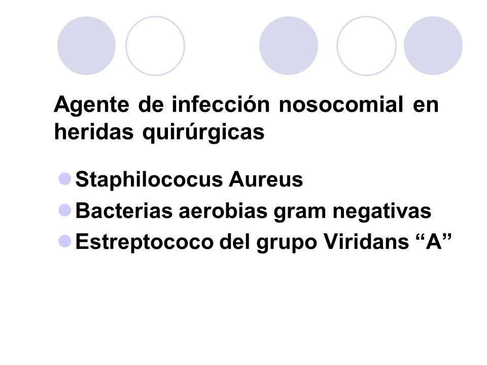 Agente de infección nosocomial en heridas quirúrgicas Staphilococus Aureus Bacterias aerobias gram negativas Estreptococo del grupo Viridans A
