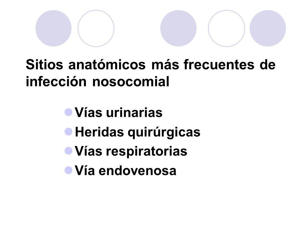Sitios anatómicos más frecuentes de infección nosocomial Vías urinarias Heridas quirúrgicas Vías respiratorias Vía endovenosa