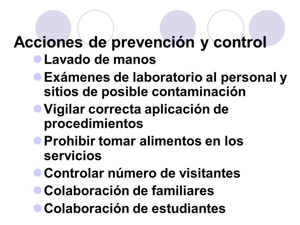 Acciones de prevención y control Lavado de manos Exámenes de laboratorio al personal y sitios de posible contaminación Vigilar correcta aplicación de