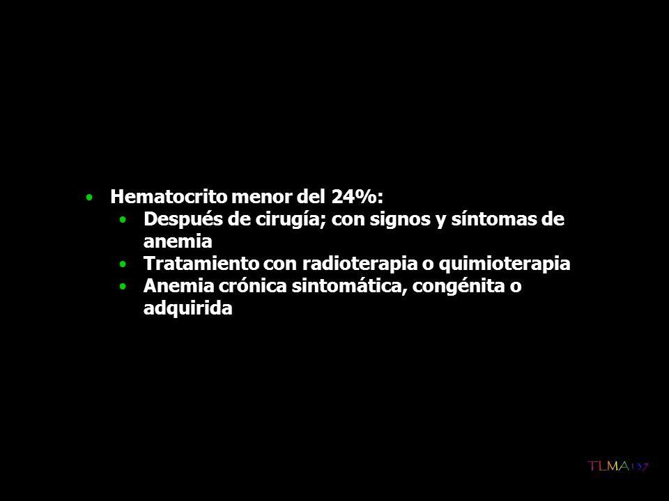 Hematocrito menor del 24%: Después de cirugía; con signos y síntomas de anemia Tratamiento con radioterapia o quimioterapia Anemia crónica sintomática