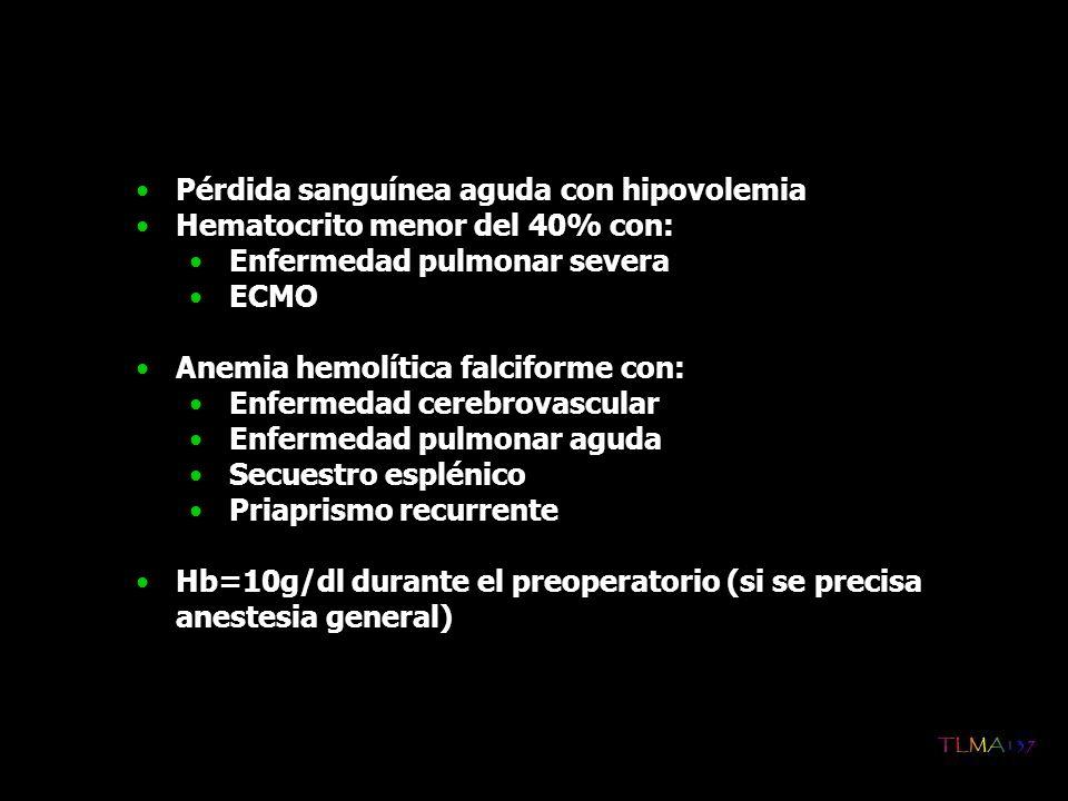 Pérdida sanguínea aguda con hipovolemia Hematocrito menor del 40% con: Enfermedad pulmonar severa ECMO Anemia hemolítica falciforme con: Enfermedad ce