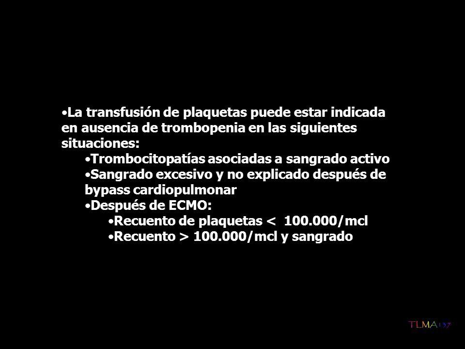 La transfusión de plaquetas puede estar indicada en ausencia de trombopenia en las siguientes situaciones: Trombocitopatías asociadas a sangrado activ