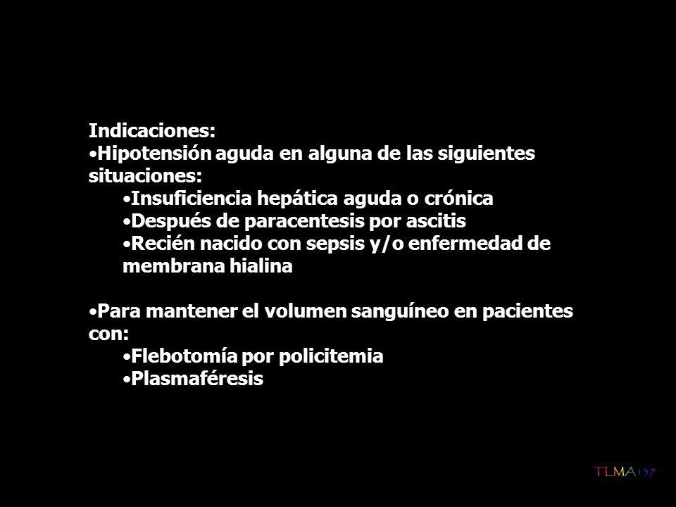 Compromiso cardiovascular secundario a hipovolemia, asociado a: Cirugía con circulación extracorpórea Shock o preshock Taquicardia significativa Para inducir diuresis en combinación con un diurético en pacientes con pérdida de líquidos Pacientes con enteropatía o nefropatía Insuficiencia hepática o crónica