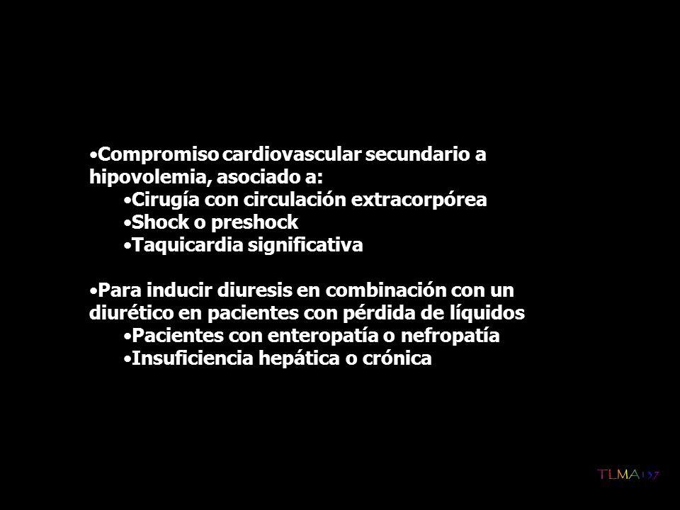 Compromiso cardiovascular secundario a hipovolemia, asociado a: Cirugía con circulación extracorpórea Shock o preshock Taquicardia significativa Para
