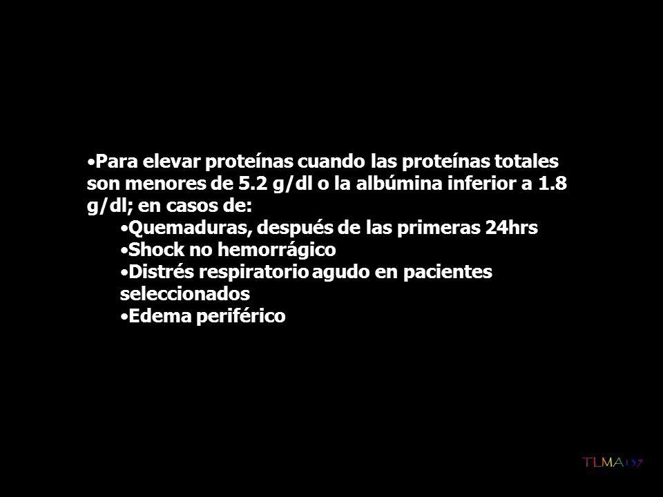 Para elevar proteínas cuando las proteínas totales son menores de 5.2 g/dl o la albúmina inferior a 1.8 g/dl; en casos de: Quemaduras, después de las