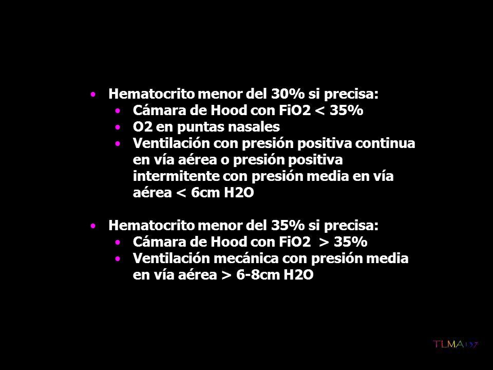 Hematocrito menor del 30% si precisa: Cámara de Hood con FiO2 < 35% O2 en puntas nasales Ventilación con presión positiva continua en vía aérea o pres