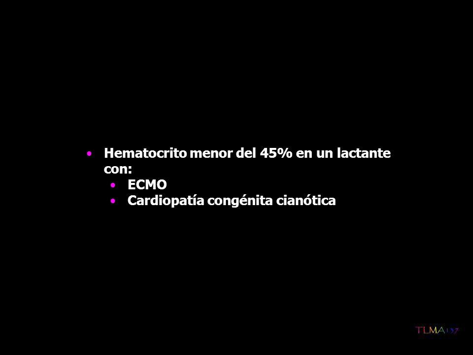3.Indicaciones de transfusión de hematíes en mayores de 4 meses Anemia preoperatoria (importante en procesos quirúrgicos de urgencia) Pérdida sanguínea de más de un 15% de la volemia durante la intervención