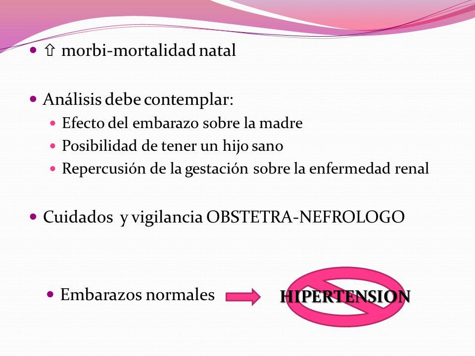 morbi-mortalidad natal Análisis debe contemplar: Efecto del embarazo sobre la madre Posibilidad de tener un hijo sano Repercusión de la gestación sobre la enfermedad renal Cuidados y vigilancia OBSTETRA-NEFROLOGO Embarazos normales HIPERTENSION