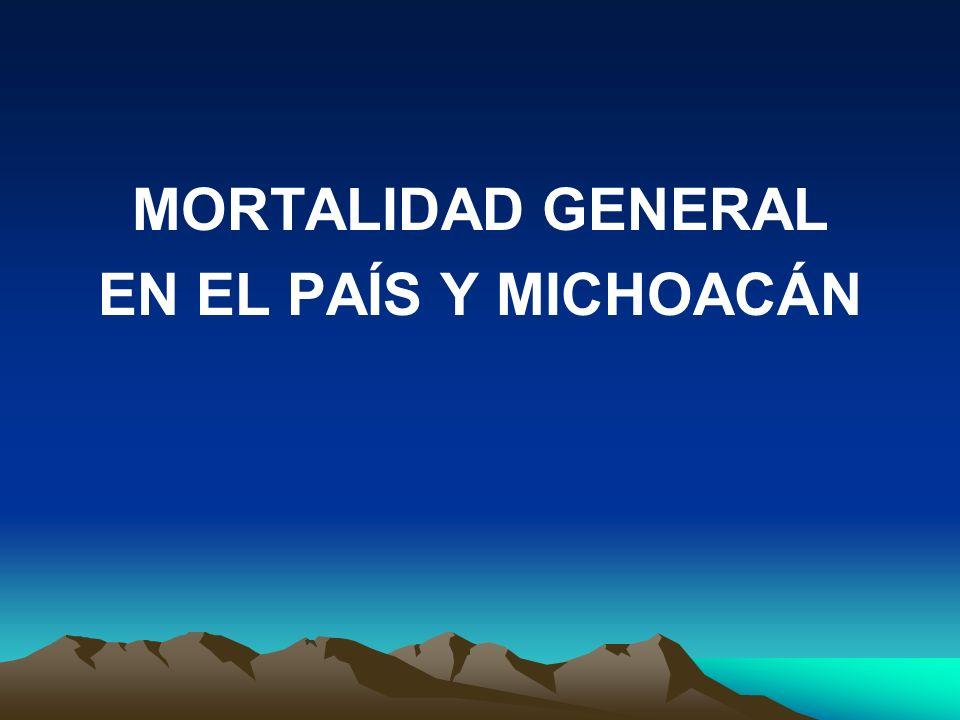 MORTALIDAD GENERAL EN EL PAÍS Y MICHOACÁN