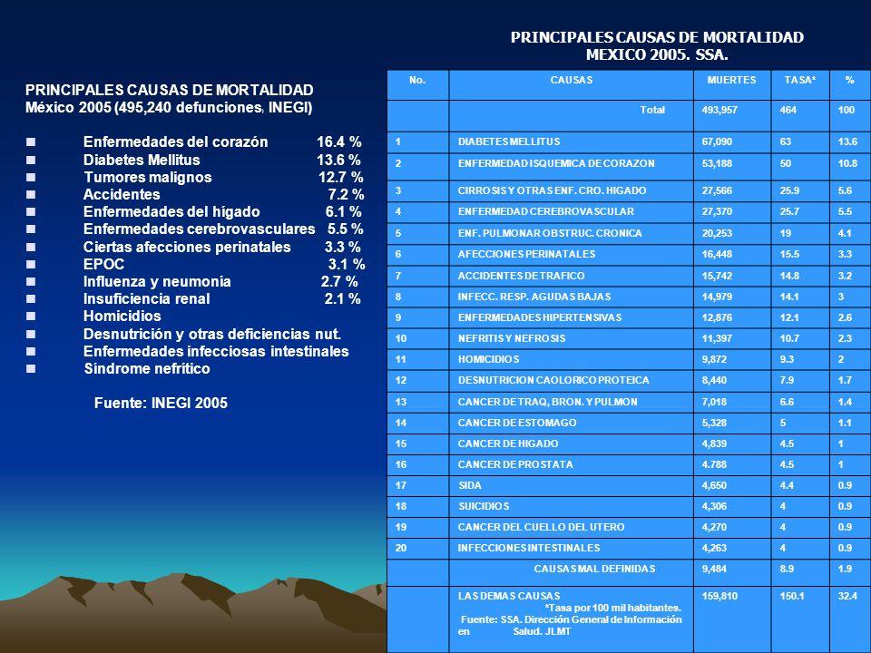 PRINCIPALES CAUSAS DE MORTALIDAD México 2005 (495,240 defunciones ) INEGI) Enfermedades del corazón 16.4 % Diabetes Mellitus 13.6 % Tumores malignos 12.7 % Accidentes 7.2 % Enfermedades del hígado 6.1 % Enfermedades cerebrovasculares 5.5 % Ciertas afecciones perinatales 3.3 % EPOC 3.1 % Influenza y neumonía 2.7 % Insuficiencia renal 2.1 % Homicidios Desnutrición y otras deficiencias nut.