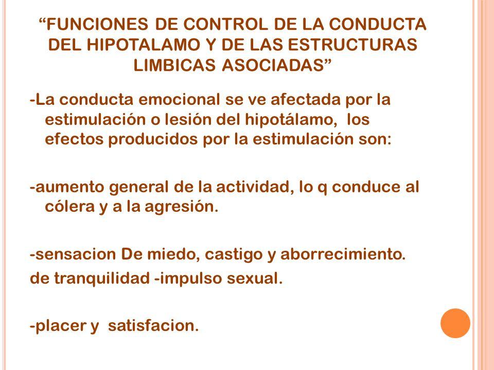 FUNCIONES DE CONTROL DE LA CONDUCTA DEL HIPOTALAMO Y DE LAS ESTRUCTURAS LIMBICAS ASOCIADAS -La conducta emocional se ve afectada por la estimulación o