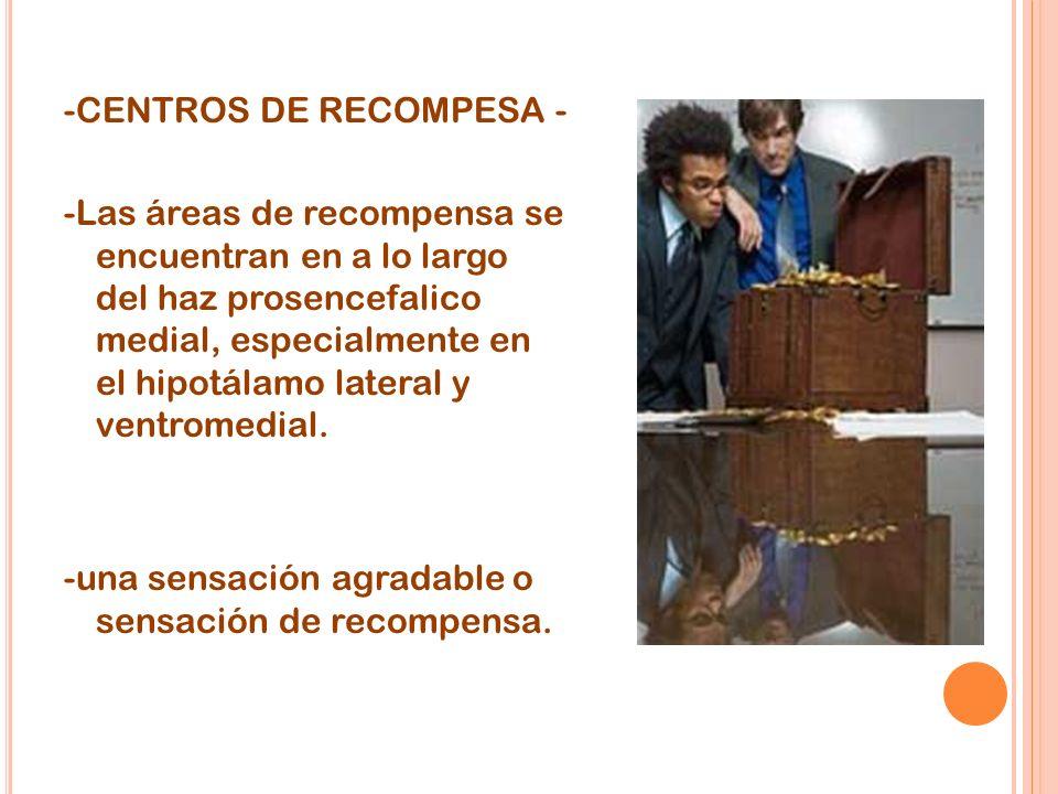 -CENTROS DE RECOMPESA - -Las áreas de recompensa se encuentran en a lo largo del haz prosencefalico medial, especialmente en el hipotálamo lateral y ventromedial.