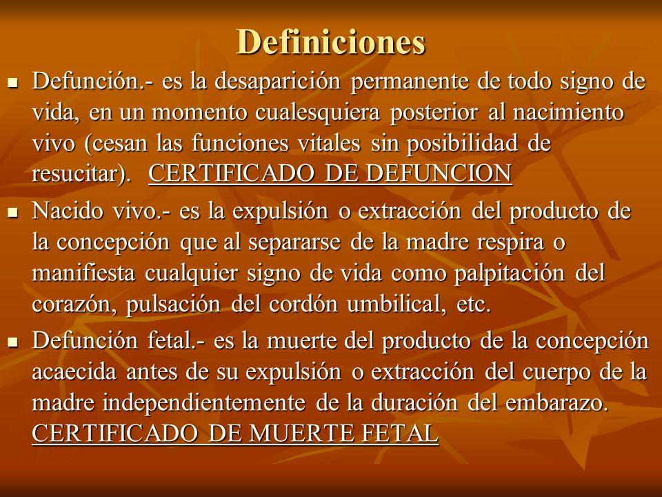 Definiciones Defunción.- es la desaparición permanente de todo signo de vida, en un momento cualesquiera posterior al nacimiento vivo (cesan las funci