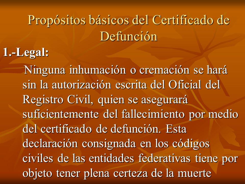 Propósitos básicos del Certificado de Defunción 1.-Legal: Ninguna inhumación o cremación se hará sin la autorización escrita del Oficial del Registro