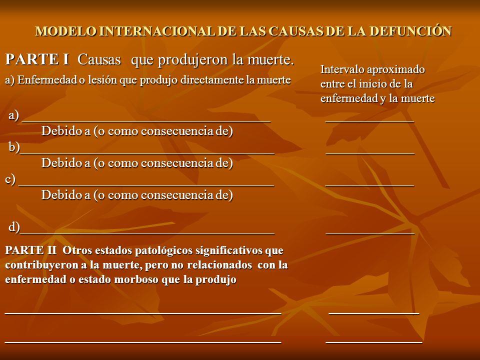 MODELO INTERNACIONAL DE LAS CAUSAS DE LA DEFUNCIÓN PARTE I Causas que produjeron la muerte. a) Enfermedad o lesión que produjo directamente la muerte