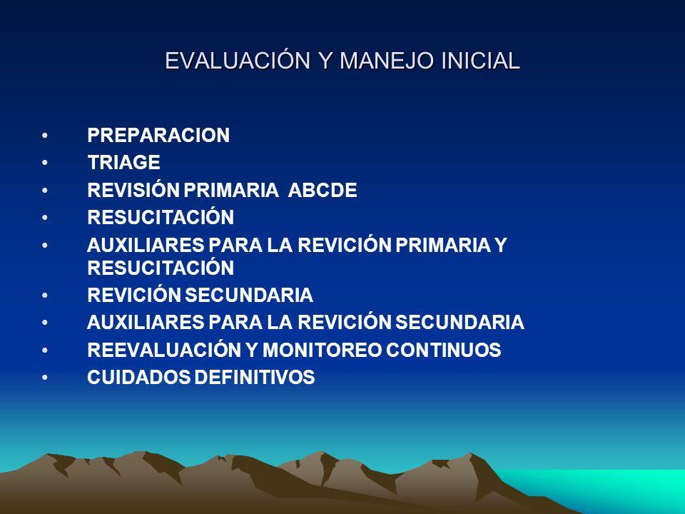 EVALUACIÓN Y MANEJO INICIAL PREPARACION TRIAGE REVISIÓN PRIMARIA ABCDE RESUCITACIÓN AUXILIARES PARA LA REVICIÓN PRIMARIA Y RESUCITACIÓN REVICIÓN SECUN