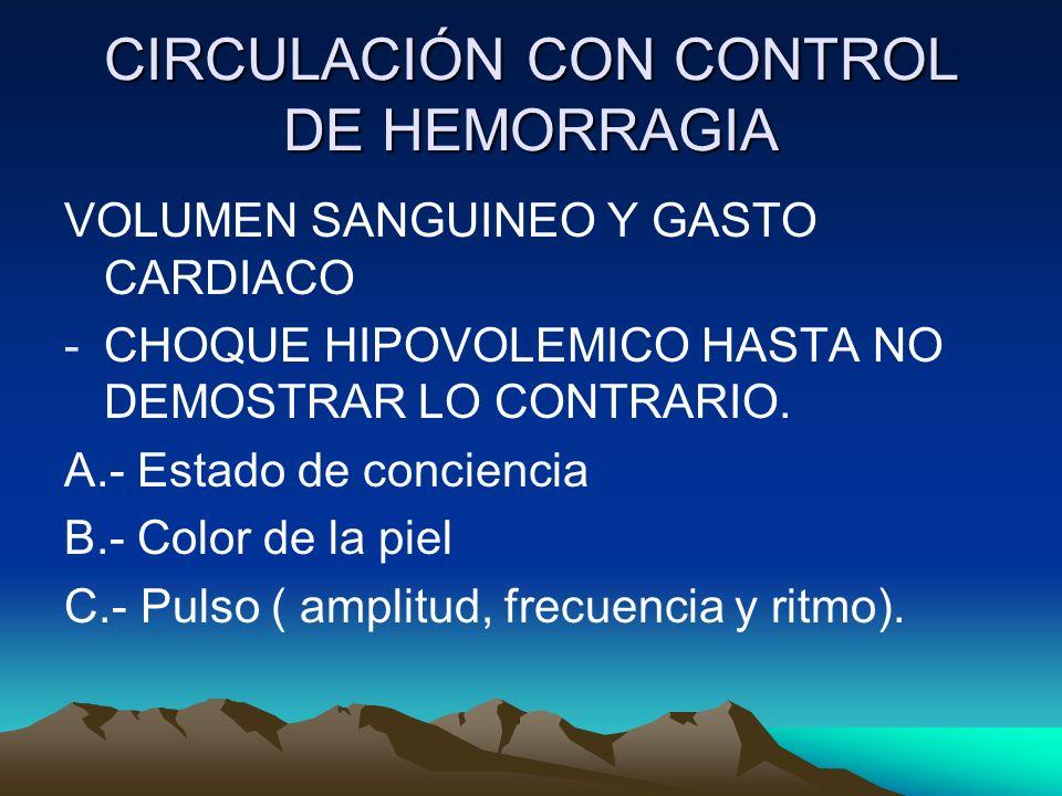 CIRCULACIÓN CON CONTROL DE HEMORRAGIA VOLUMEN SANGUINEO Y GASTO CARDIACO -CHOQUE HIPOVOLEMICO HASTA NO DEMOSTRAR LO CONTRARIO. A.- Estado de concienci