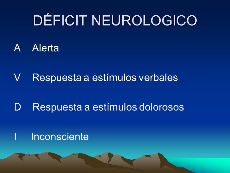 DÉFICIT NEUROLOGICO A Alerta V Respuesta a estímulos verbales D Respuesta a estímulos dolorosos I Inconsciente