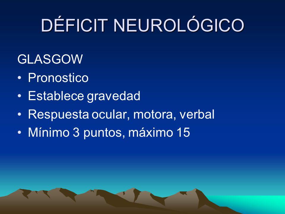 DÉFICIT NEUROLÓGICO GLASGOW Pronostico Establece gravedad Respuesta ocular, motora, verbal Mínimo 3 puntos, máximo 15