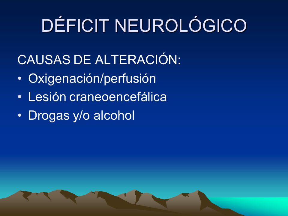 DÉFICIT NEUROLÓGICO CAUSAS DE ALTERACIÓN: Oxigenación/perfusión Lesión craneoencefálica Drogas y/o alcohol