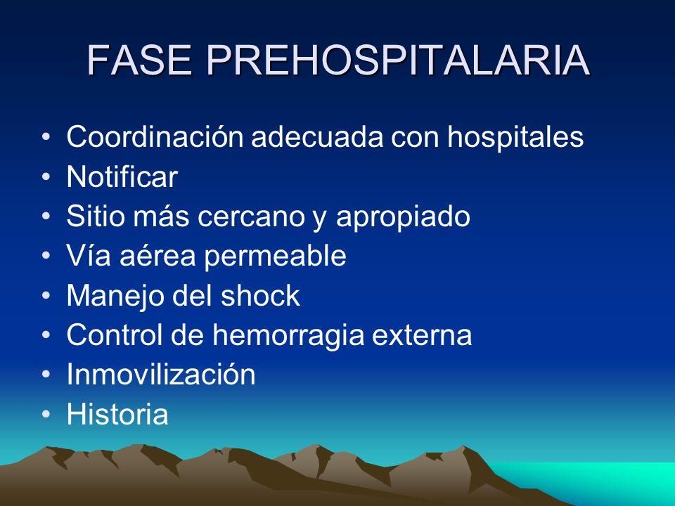 FASE PREHOSPITALARIA Coordinación adecuada con hospitales Notificar Sitio más cercano y apropiado Vía aérea permeable Manejo del shock Control de hemo