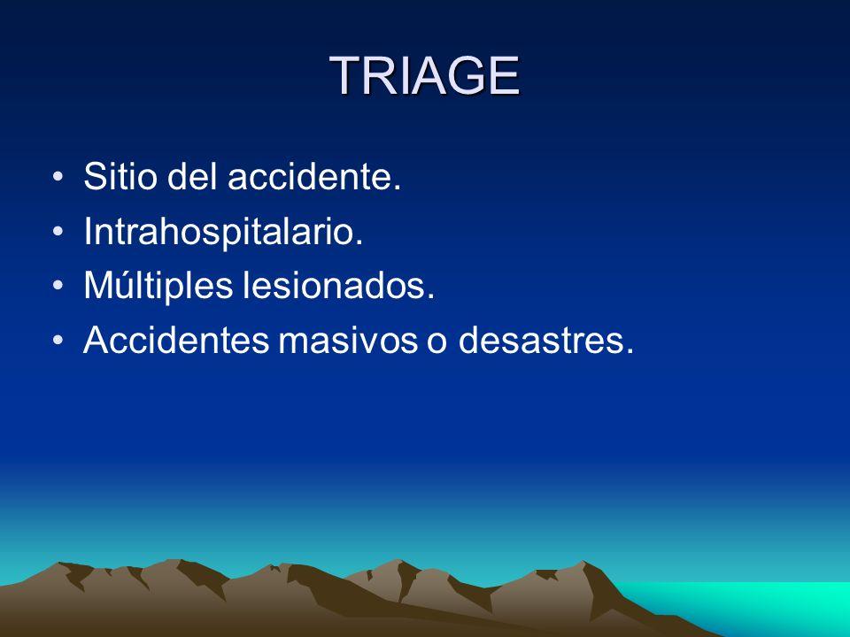 TRIAGE Sitio del accidente. Intrahospitalario. Múltiples lesionados. Accidentes masivos o desastres.