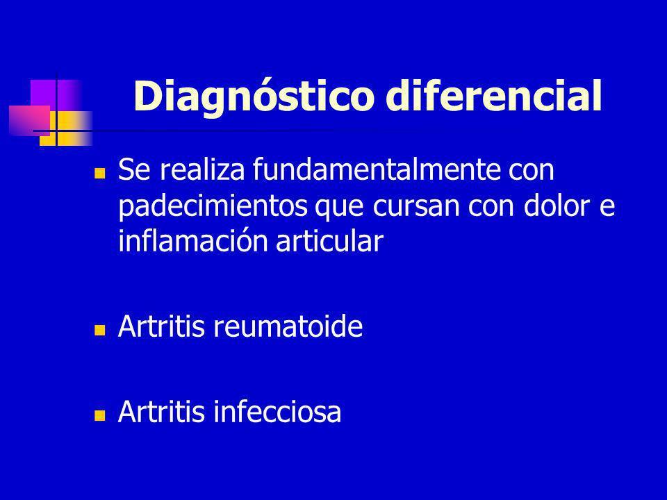 Diagnóstico diferencial Se realiza fundamentalmente con padecimientos que cursan con dolor e inflamación articular Artritis reumatoide Artritis infecc