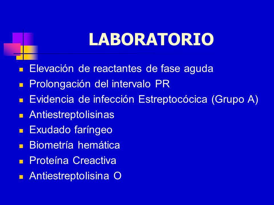 LABORATORIO Elevación de reactantes de fase aguda Prolongación del intervalo PR Evidencia de infección Estreptocócica (Grupo A) Antiestreptolisinas Ex